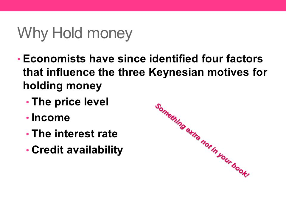 Why Hold money Economists have since identified four factors that influence the three Keynesian motives for holding money The price level Income The i