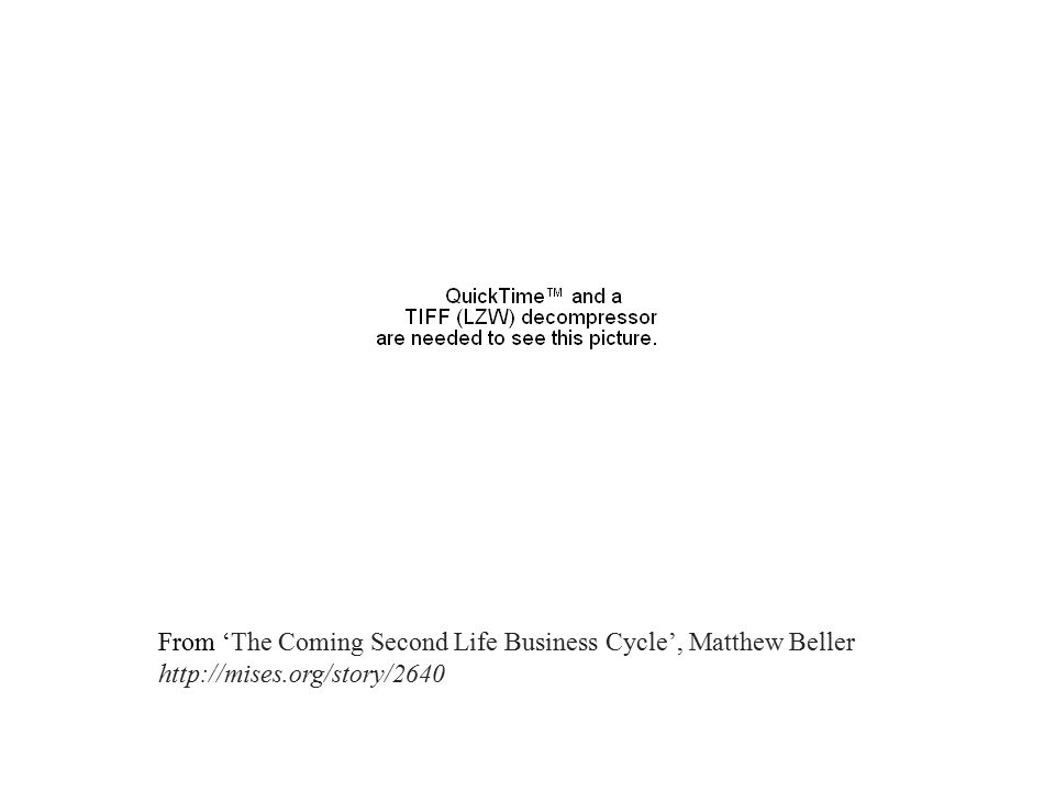 From 'The Coming Second Life Business Cycle', Matthew Beller http://mises.org/story/2640