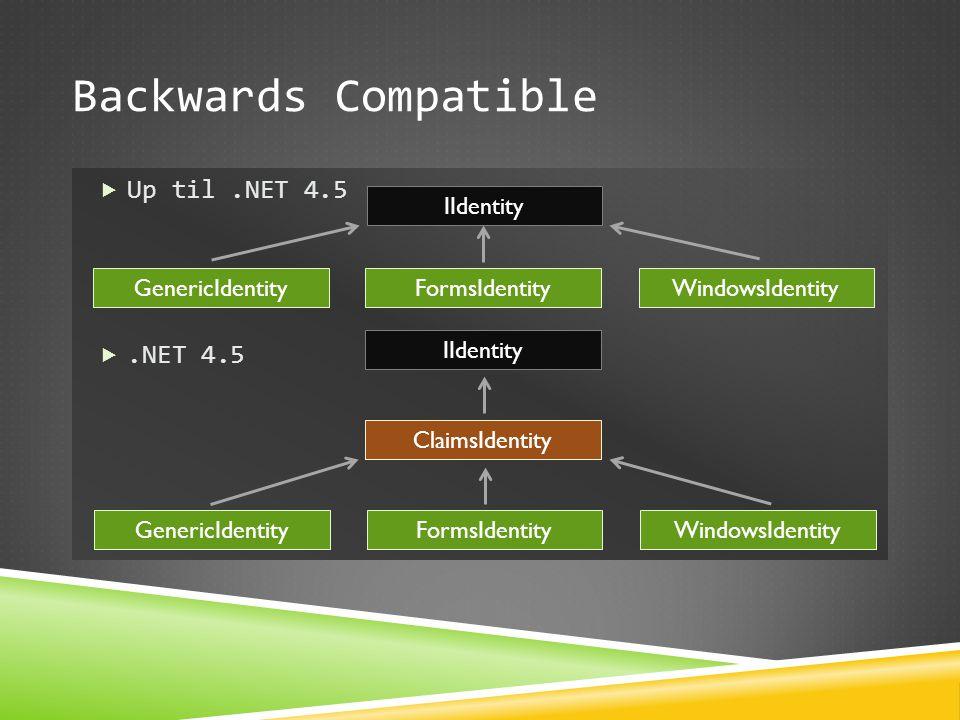 Backwards Compatible  Up til.NET 4.5 .NET 4.5 IIdentity GenericIdentityFormsIdentityWindowsIdentity GenericIdentityFormsIdentityWindowsIdentity Clai