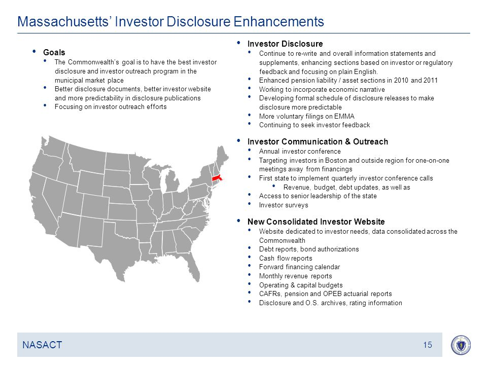 16 Massachusetts' Investor Disclosure Enhancements NASACT 15 Investor Disclosure Continue to re-write and overall information statements and supplements, enhancing sections based on investor or regulatory feedback and focusing on plain English.