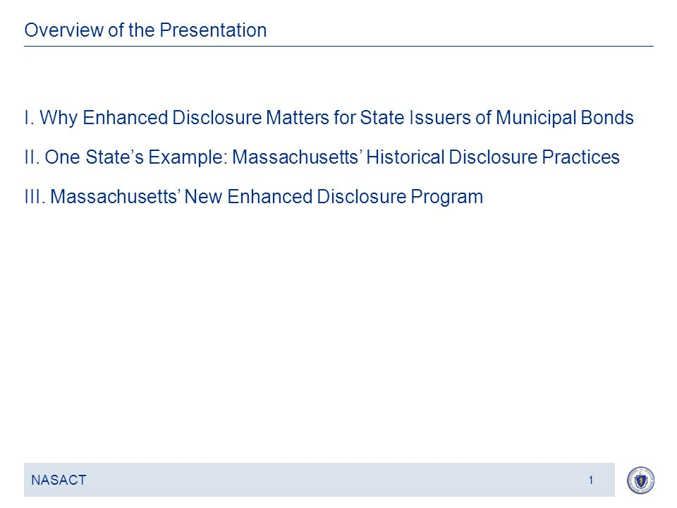 3 I. Why Enhanced Disclosure Matters for State Issuers of Municipal Bonds