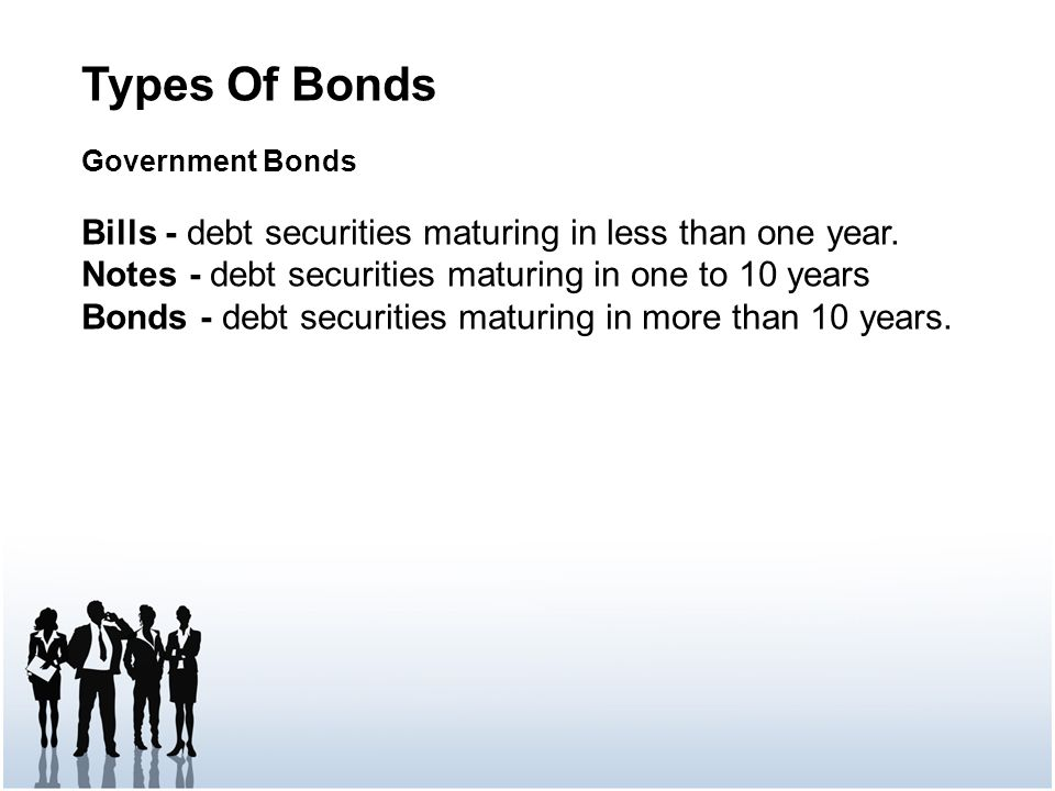 Types Of Bonds Government Bonds Bills - debt securities maturing in less than one year.