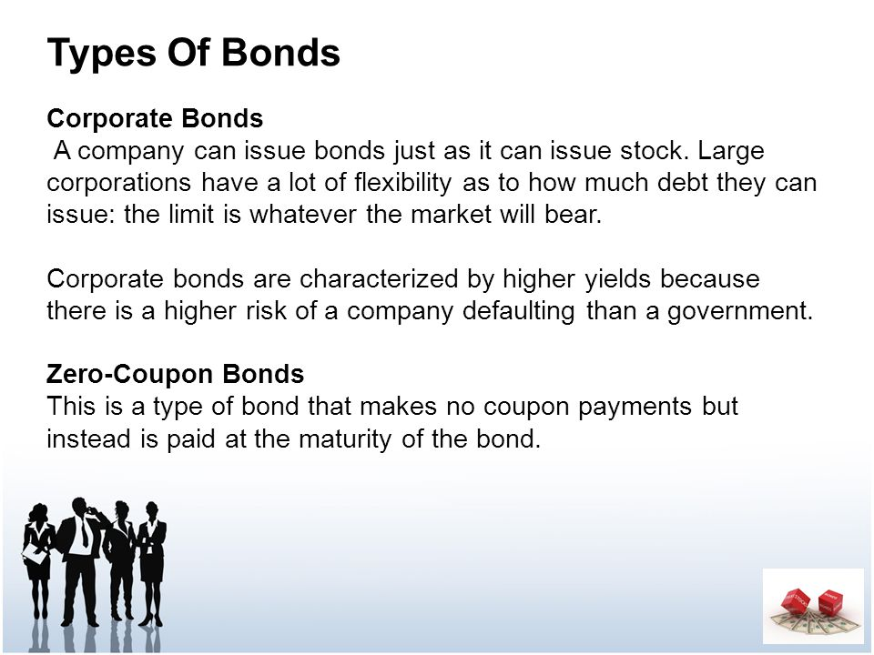 Types Of Bonds Corporate Bonds A company can issue bonds just as it can issue stock.