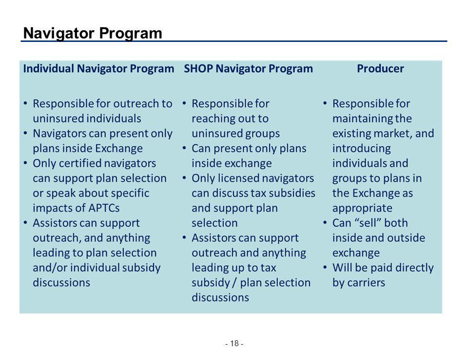 - 18 - Navigator Program