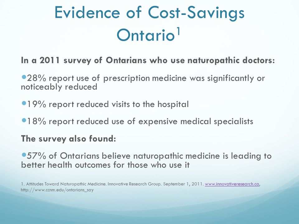 Evidence of Cost-Savings Ontario 1 In a 2011 survey of Ontarians who use naturopathic doctors: 28% report use of prescription medicine was significantly or noticeably reduced 19% report reduced visits to the hospital 18% report reduced use of expensive medical specialists The survey also found: 57% of Ontarians believe naturopathic medicine is leading to better health outcomes for those who use it 1.