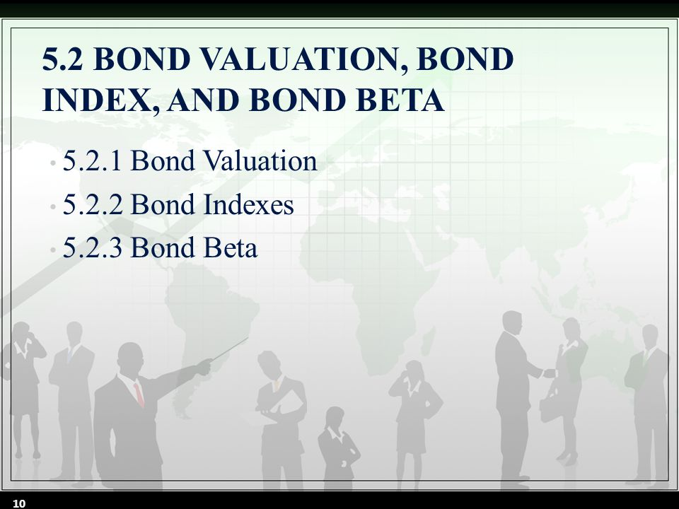 5.2 BOND VALUATION, BOND INDEX, AND BOND BETA 5.2.1 Bond Valuation 5.2.2 Bond Indexes 5.2.3 Bond Beta 10