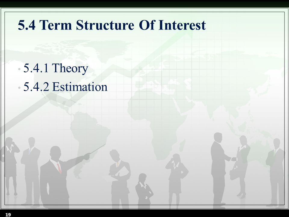 5.4.1 Theory FIGURE 5.2 Yield-curve Patterns The term structure of interest rates is typically described by the yield curve, a static representation of the relationship between term to maturity and YTM that exists at a given point time, within a given risk class of bonds.