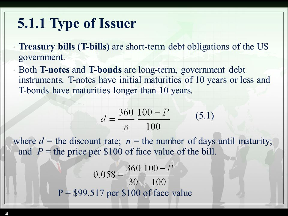 5.1.1 Type of Issuer Treasury bills (T-bills) are short-term debt obligations of the US government.