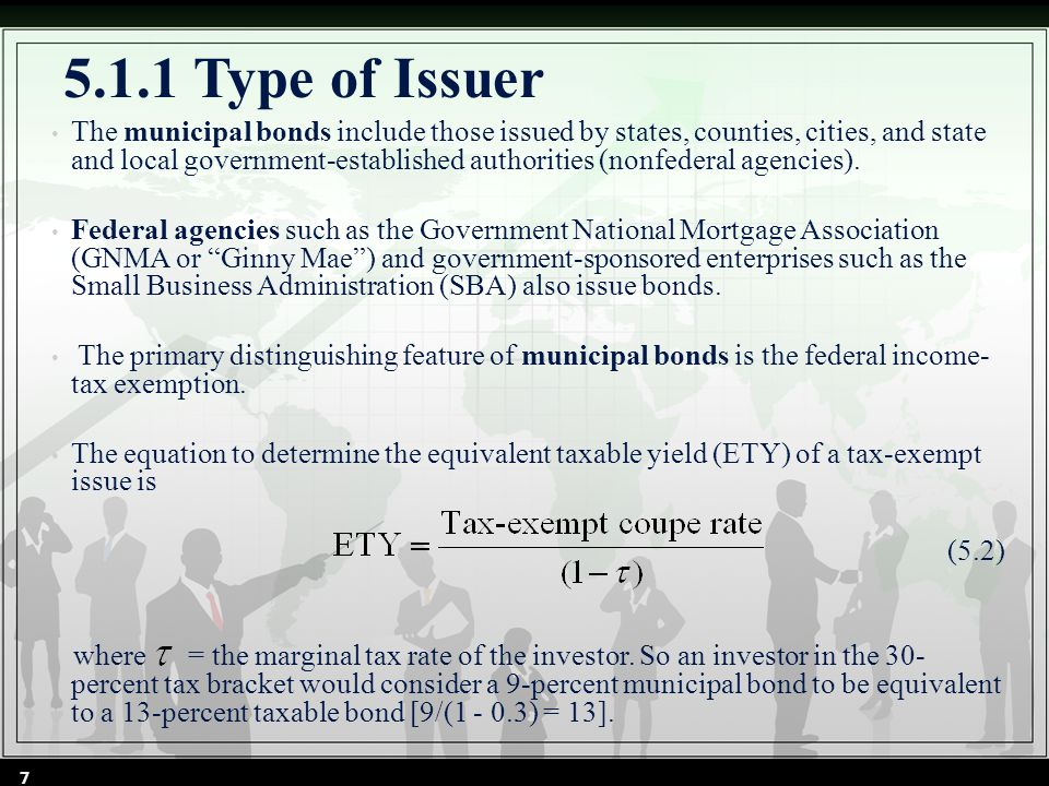 5.1.1 Type of Issuer The municipal bonds include those issued by states, counties, cities, and state and local government-established authorities (nonfederal agencies).