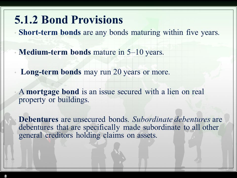 5.1.2 Bond Provisions Short-term bonds are any bonds maturing within five years.