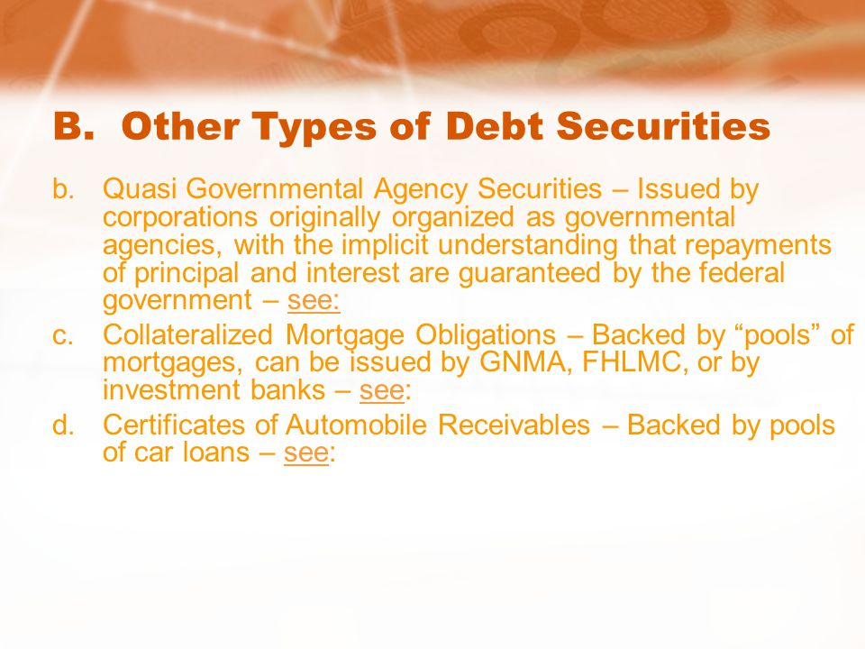 B. Other Types of Debt Securities b.Quasi Governmental Agency Securities – Issued by corporations originally organized as governmental agencies, with