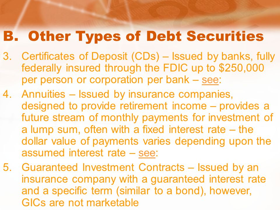 B. Other Types of Debt Securities 3.Certificates of Deposit (CDs) – Issued by banks, fully federally insured through the FDIC up to $250,000 per perso