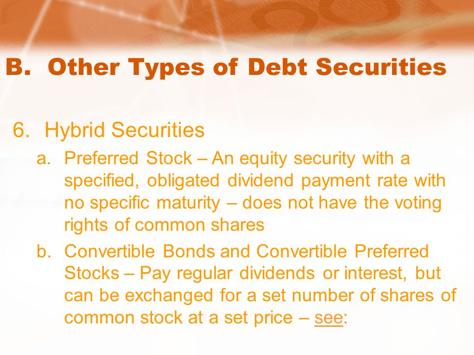 B. Other Types of Debt Securities 6.Hybrid Securities a.Preferred Stock – An equity security with a specified, obligated dividend payment rate with no