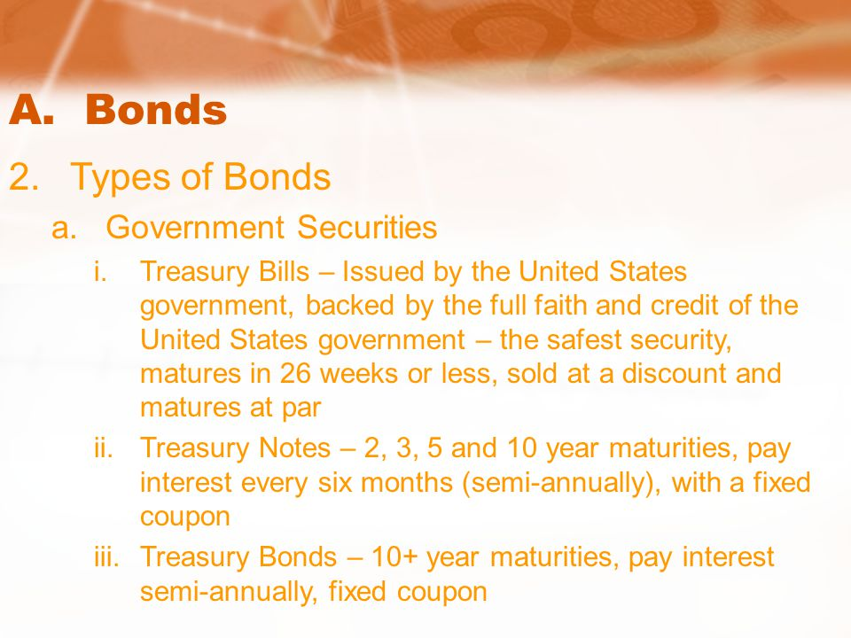 A. Bonds 2.Types of Bonds a.Government Securities i.Treasury Bills – Issued by the United States government, backed by the full faith and credit of th
