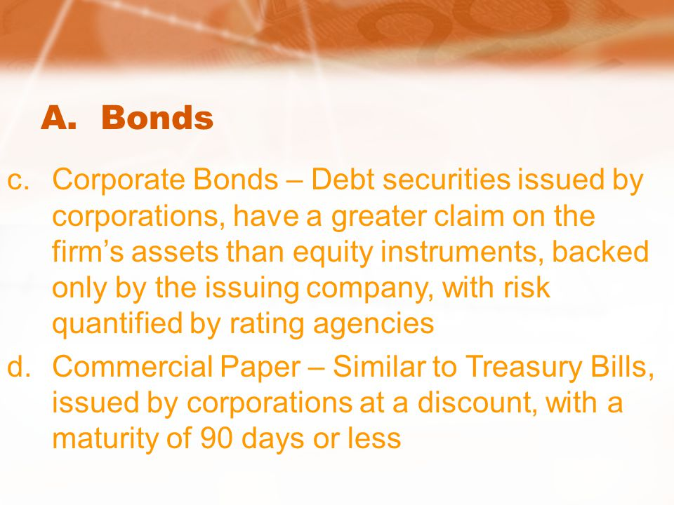 A. Bonds c.Corporate Bonds – Debt securities issued by corporations, have a greater claim on the firm's assets than equity instruments, backed only by