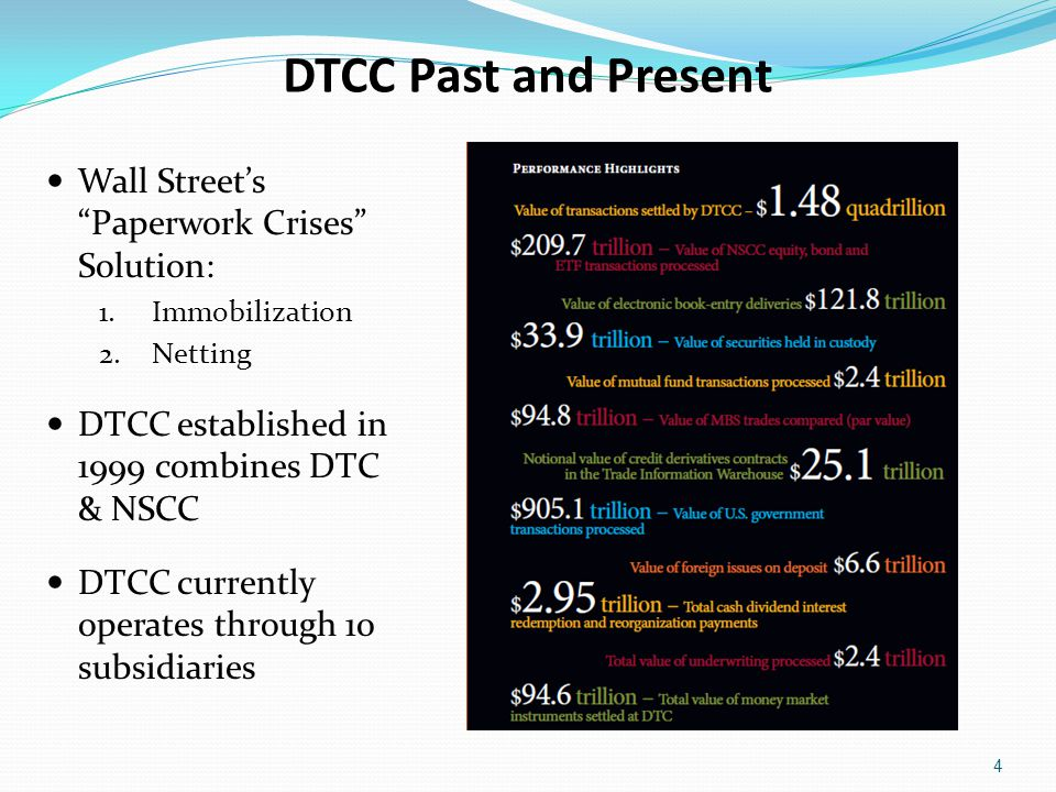 DTCC Past and Present Wall Street's Paperwork Crises Solution: 1.Immobilization 2.Netting DTCC established in 1999 combines DTC & NSCC DTCC currently operates through 10 subsidiaries 4