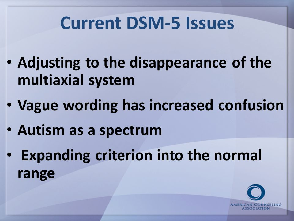 Current DSM-5 Issues Adjusting to the disappearance of the multiaxial system Vague wording has increased confusion Autism as a spectrum Expanding criterion into the normal range