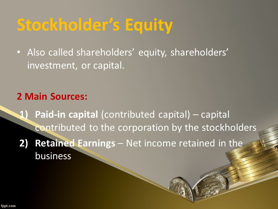 Stockholder's Equity Also called shareholders' equity, shareholders' investment, or capital.