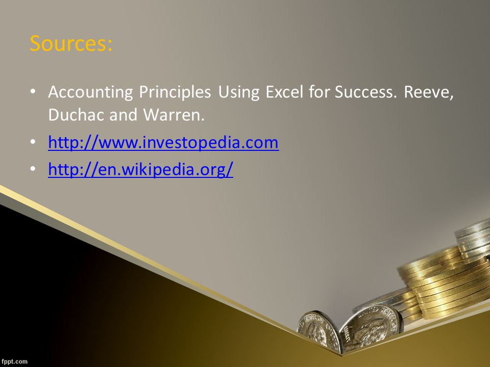 Sources: Accounting Principles Using Excel for Success.