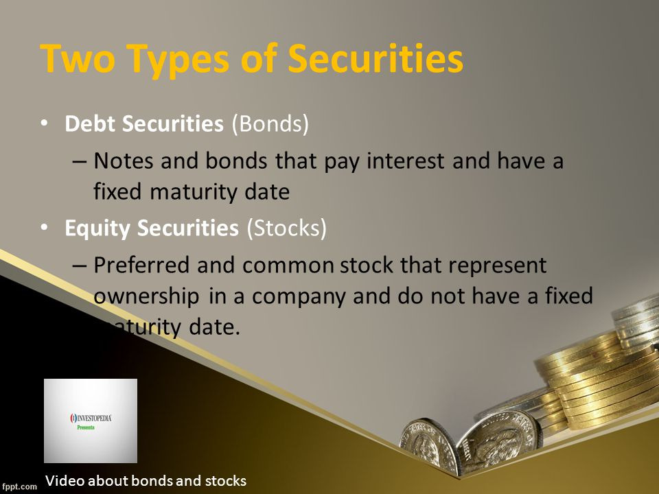 Two Types of Securities Debt Securities (Bonds) – Notes and bonds that pay interest and have a fixed maturity date Equity Securities (Stocks) – Preferred and common stock that represent ownership in a company and do not have a fixed maturity date.