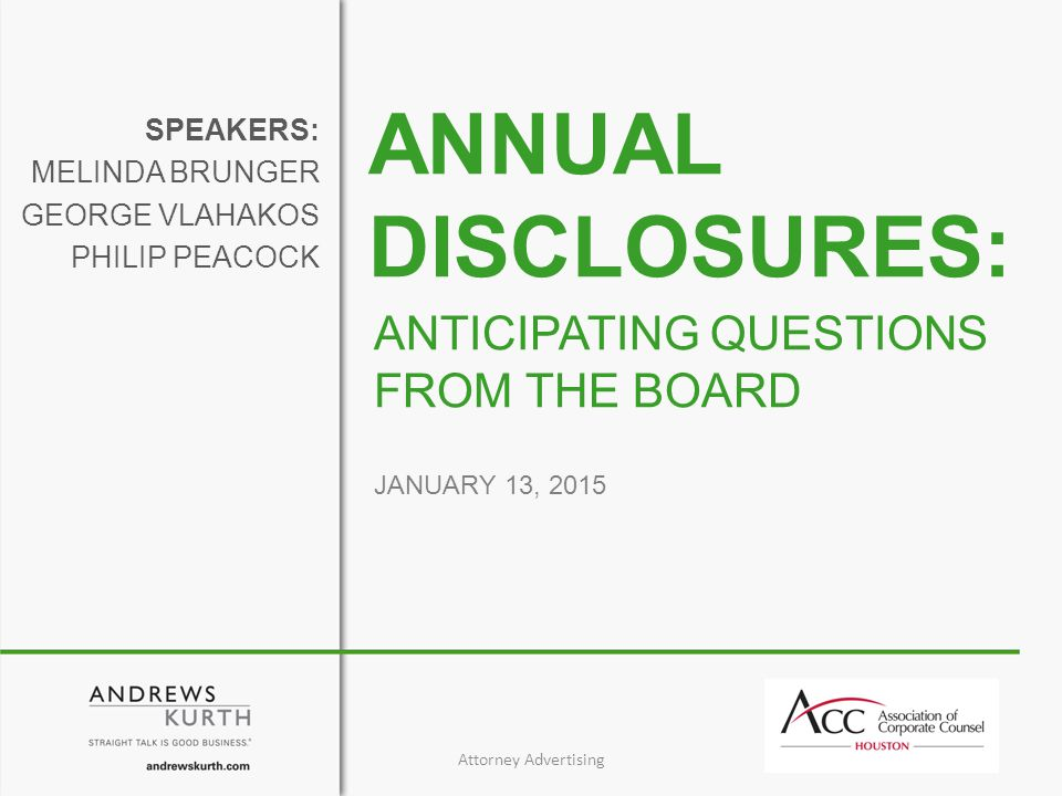 January 13, 201542 Speech, SEC Chair White, Remarks at the Financial Accounting Foundation Trustees Dinner (May 20, 2014), available at http://www.sec.gov/News/Speech/Detail/Speech/1370541872065#.VKHOzuAABg.http://www.sec.gov/News/Speech/Detail/Speech/1370541872065#.VKHOzuAABg EY, Audit committee reporting to shareholders 2014 proxy season update (August 2014), available at http://www.ey.com/Publication/vwLUAssets/ey-lets-talk-governance-august-2014/$FILE/ey-lets-talk-governance- august-2014.pdf.
