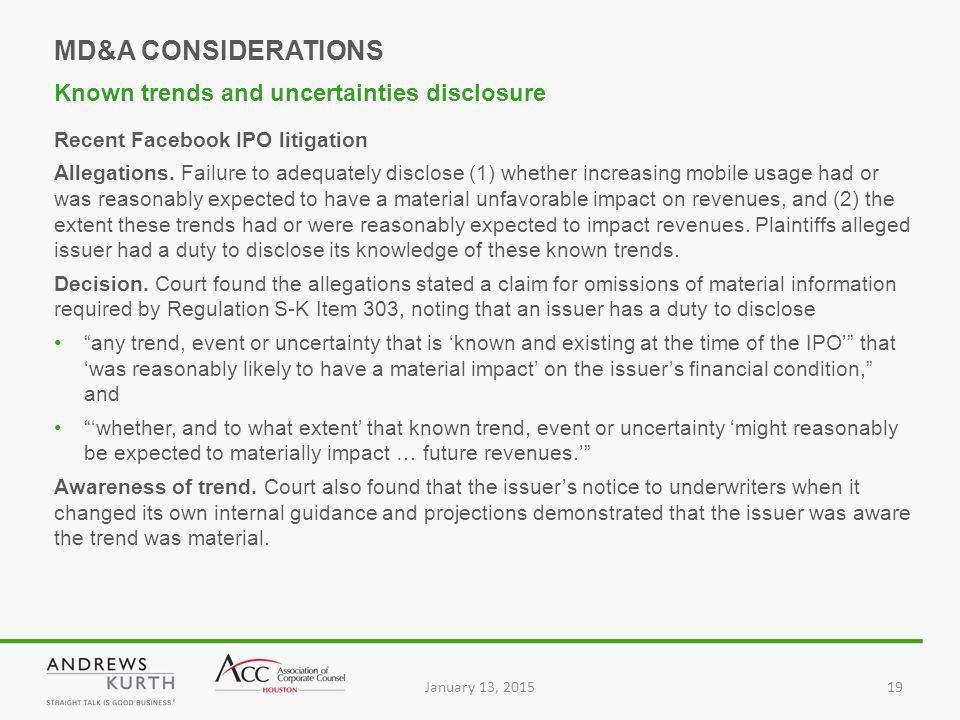 January 13, 201519 Recent Facebook IPO litigation Allegations.