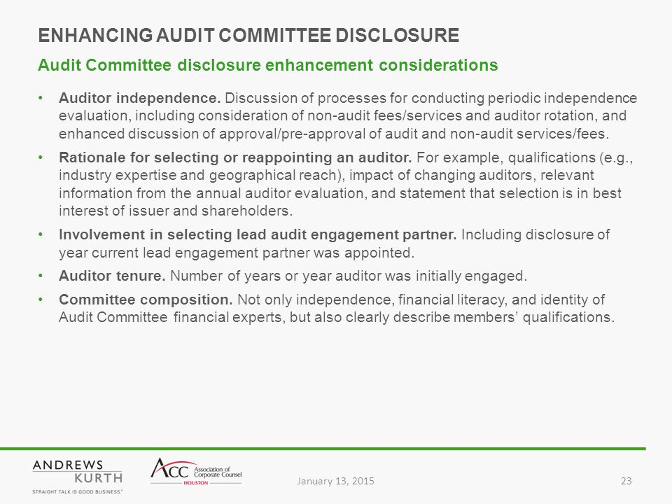 January 13, 201523 Auditor independence.