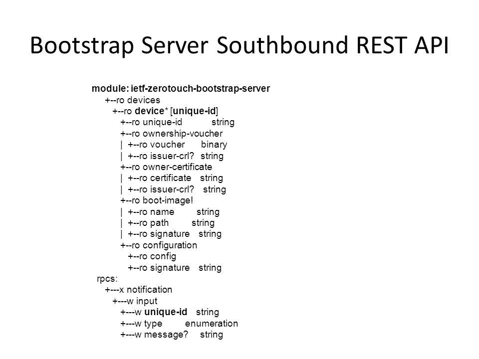 Bootstrap Server Southbound REST API module: ietf-zerotouch-bootstrap-server +--ro devices +--ro device* [unique-id] +--ro unique-id string +--ro owne