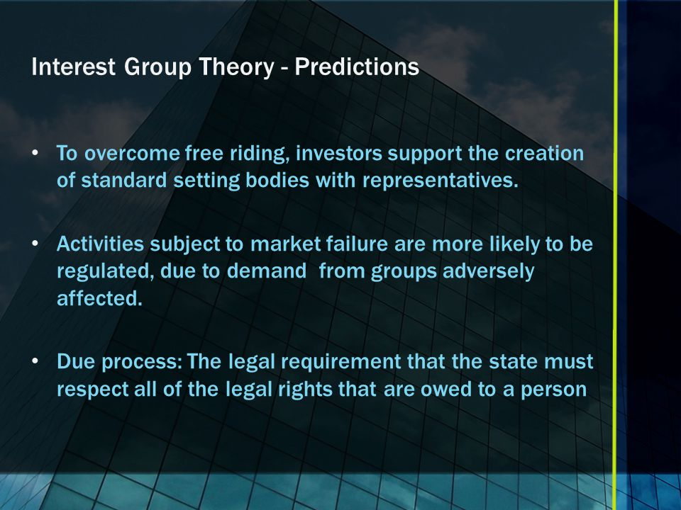 Which Theory of Regulation Applies to Standard Setting.