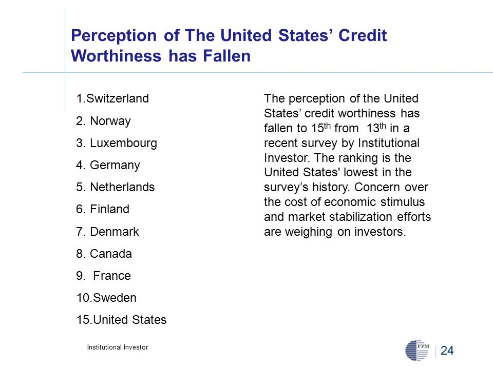 24 Perception of The United States' Credit Worthiness has Fallen 1.Switzerland 2.