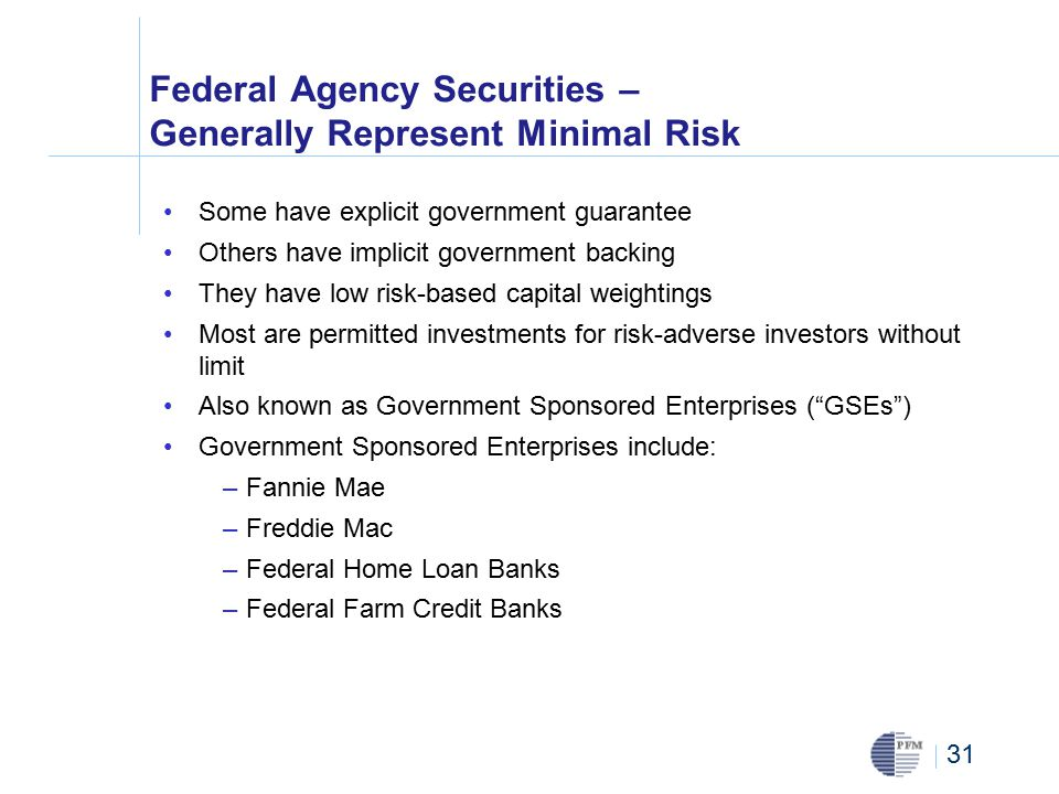 31 Federal Agency Securities – Generally Represent Minimal Risk Some have explicit government guarantee Others have implicit government backing They have low risk-based capital weightings Most are permitted investments for risk-adverse investors without limit Also known as Government Sponsored Enterprises ( GSEs ) Government Sponsored Enterprises include: –Fannie Mae –Freddie Mac –Federal Home Loan Banks –Federal Farm Credit Banks