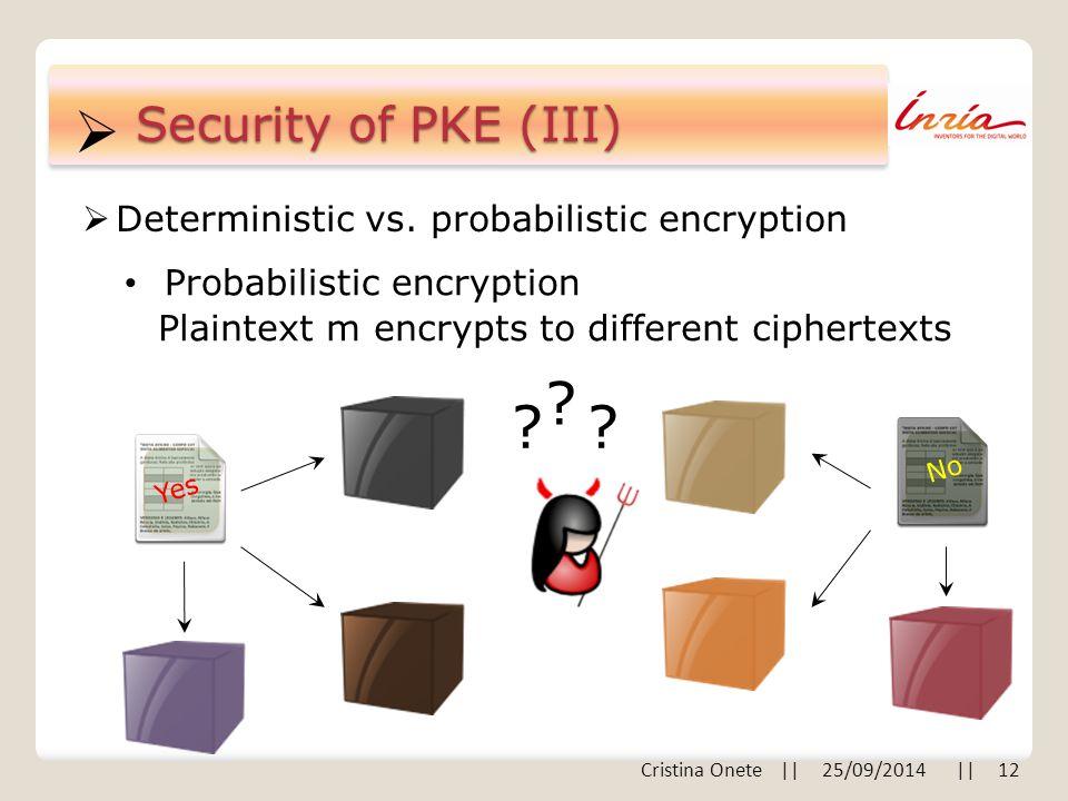  Security of PKE (III)  Deterministic vs.