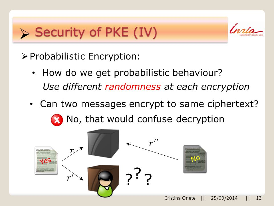  Security of PKE (IV)  Probabilistic Encryption: How do we get probabilistic behaviour? Use different randomness at each encryption Yes Can two mess