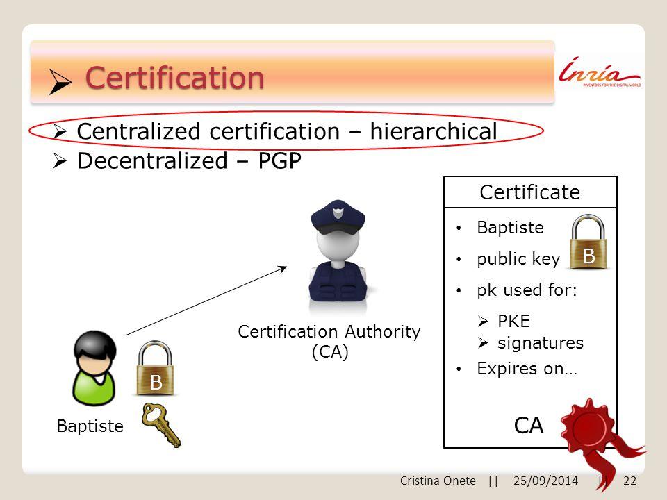  B Certification  Centralized certification – hierarchical  Decentralized – PGP B Baptiste Certification Authority (CA) Certificate Baptiste public