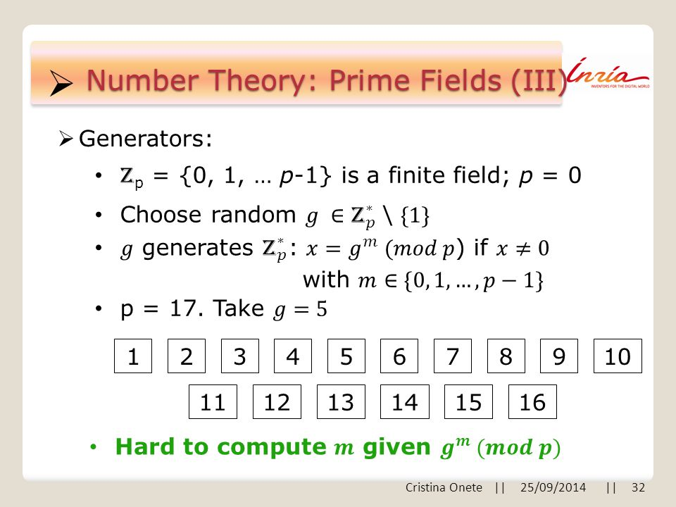  Number Theory: Prime Fields (III)  Generators: Z p = {0, 1, … p-1} is a finite field; p = 0 Cristina Onete || 25/09/2014 || 32 12345678910 111213141516