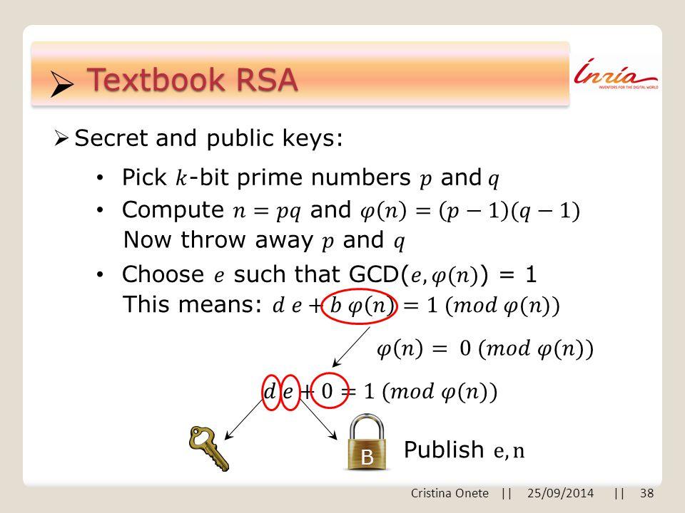  Textbook RSA  Secret and public keys: B Cristina Onete || 25/09/2014 || 38