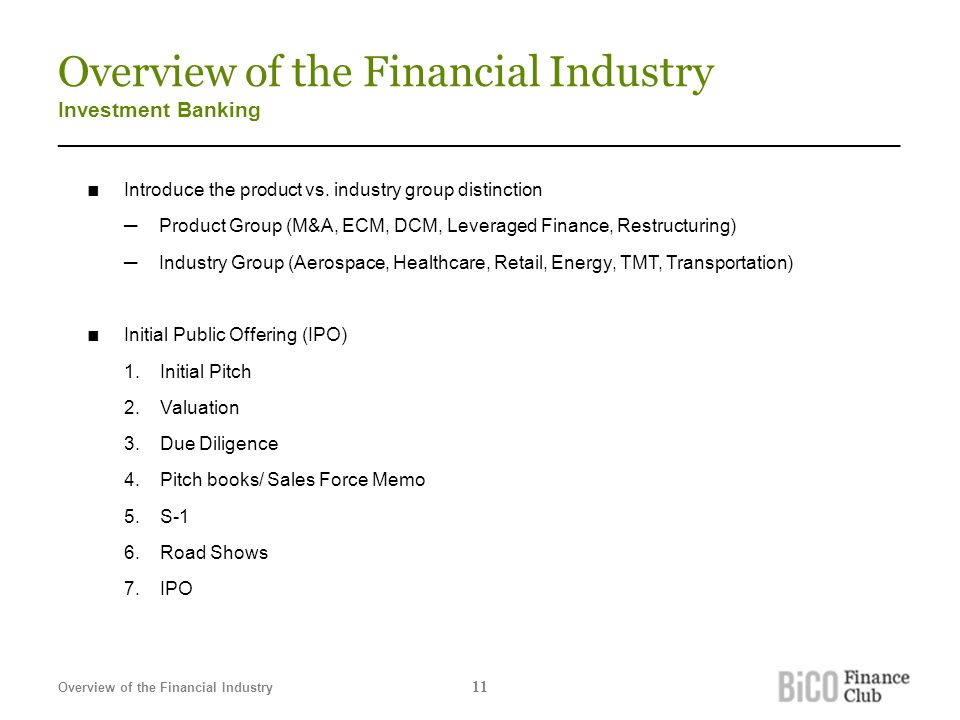 Overview of the Financial Industry Investment Banking _______________________________________________________________________ ■ Introduce the product vs.