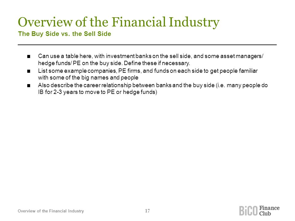 Overview of the Financial Industry The Buy Side vs. the Sell Side _______________________________________________________________________ ■ Can use a