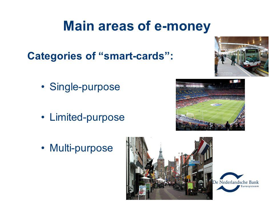 Main areas of e-money Categories of smart-cards : Single-purpose Limited-purpose Multi-purpose