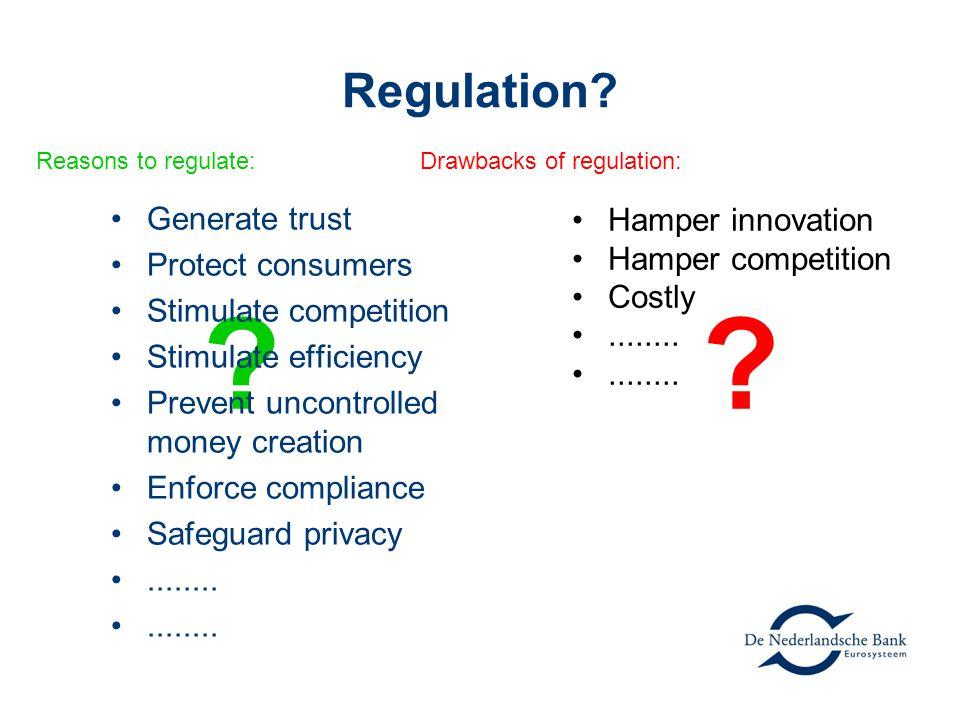 Regulation. Reasons to regulate: Drawbacks of regulation: .