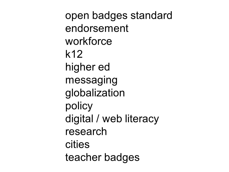 open badges standard endorsement workforce k12 higher ed messaging globalization policy digital / web literacy research cities teacher badges