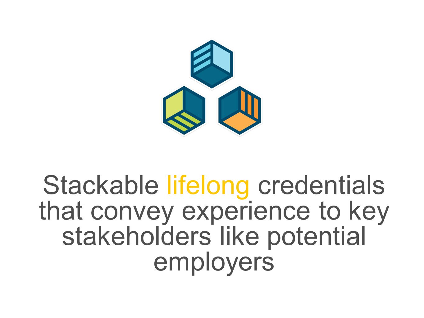 Stackable lifelong credentials that convey experience to key stakeholders like potential employers
