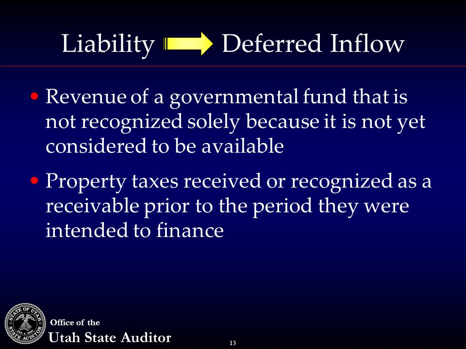 13 Office of the Utah State Auditor Liability Deferred Inflow Revenue of a governmental fund that is not recognized solely because it is not yet considered to be available Property taxes received or recognized as a receivable prior to the period they were intended to finance