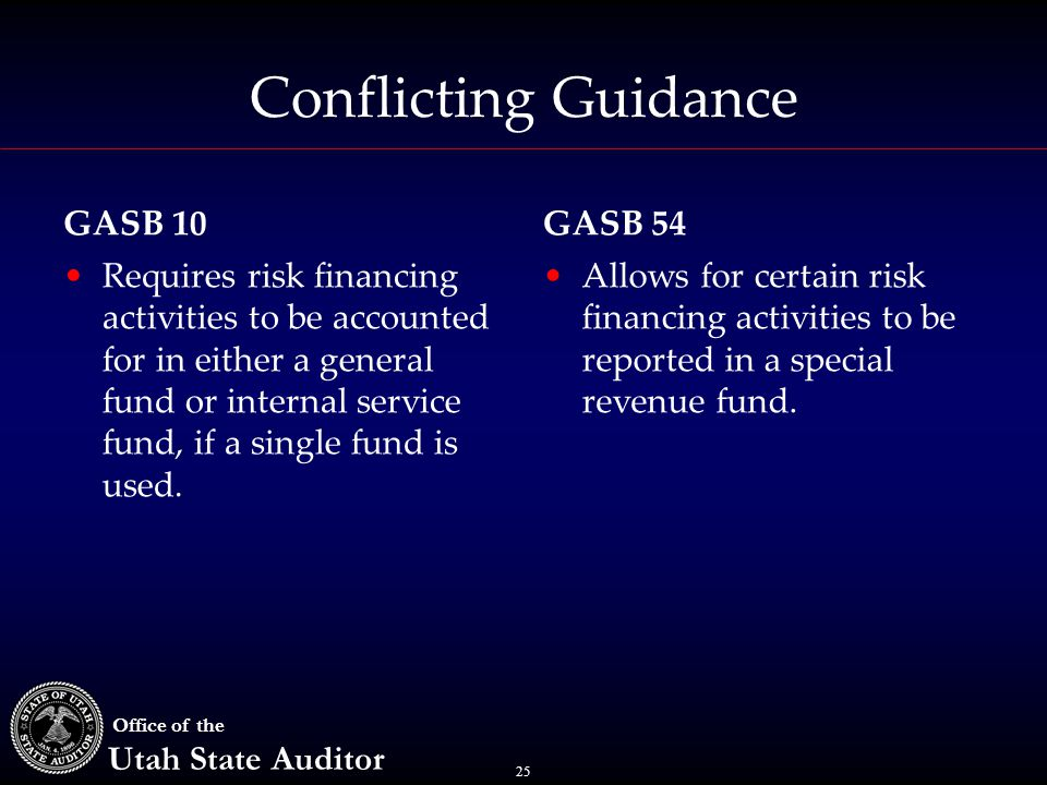 25 Office of the Utah State Auditor Conflicting Guidance Requires risk financing activities to be accounted for in either a general fund or internal s