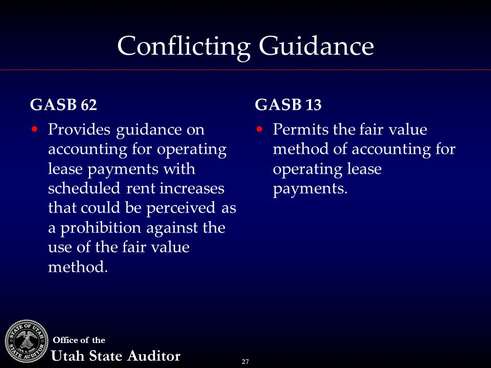 27 Office of the Utah State Auditor Conflicting Guidance Provides guidance on accounting for operating lease payments with scheduled rent increases th
