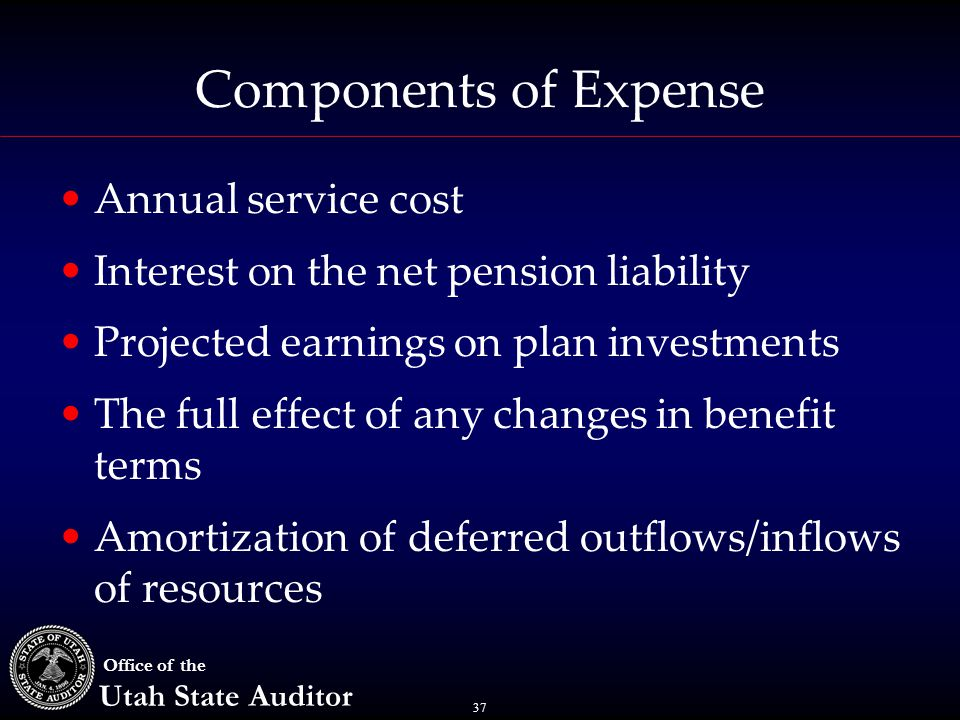 37 Office of the Utah State Auditor Components of Expense Annual service cost Interest on the net pension liability Projected earnings on plan investments The full effect of any changes in benefit terms Amortization of deferred outflows/inflows of resources