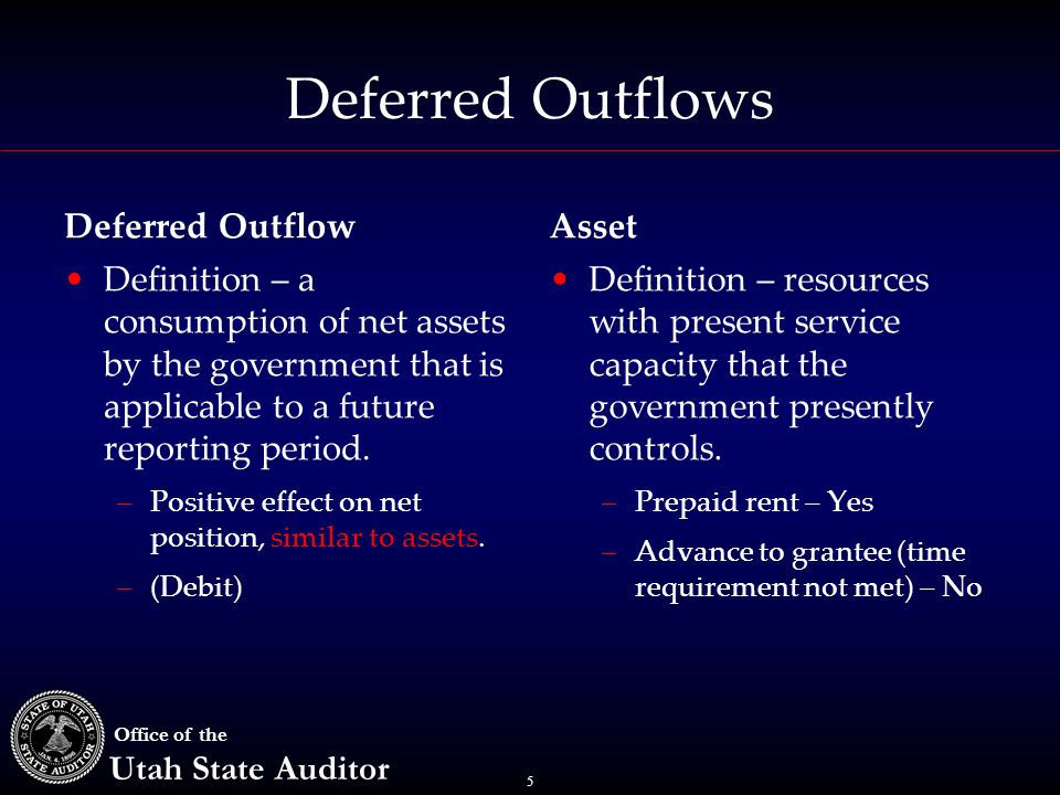 5 Office of the Utah State Auditor Deferred Outflows Definition – a consumption of net assets by the government that is applicable to a future reporting period.