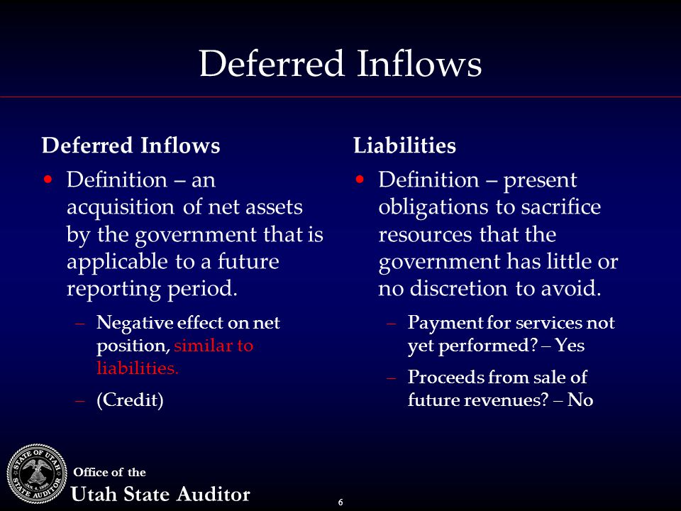 6 Office of the Utah State Auditor Deferred Inflows Definition – an acquisition of net assets by the government that is applicable to a future reporting period.