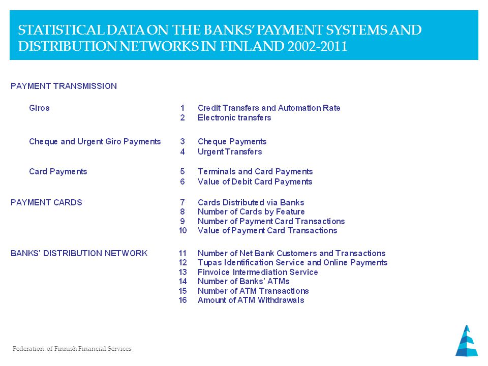 STATISTICAL DATA ON THE BANKS' PAYMENT SYSTEMS AND DISTRIBUTION NETWORKS IN FINLAND 2002-2011 Federation of Finnish Financial Services