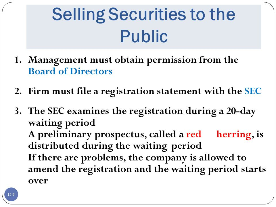 15-10 Selling Securities to the Public 4.Securities may not be sold during the waiting period 5.